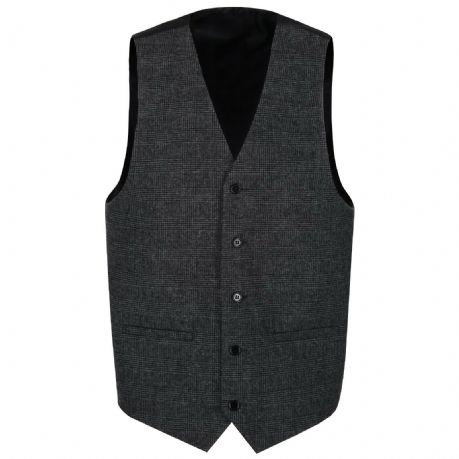 MENS WOOL Clarence Grey Graphite TWEED Check Waistcoat Quality Vest New